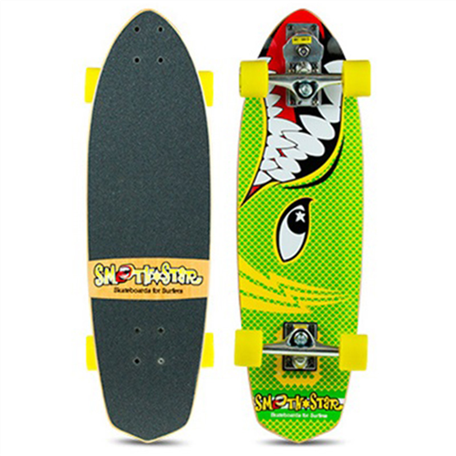 "SmoothStar Barracuda 30"" Surf Skateboard, Green/Yellow"