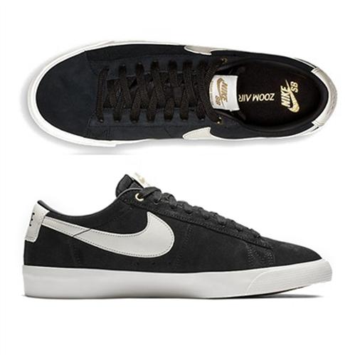 Nike SB Blazer Low Gt Shoes, Black/Sail