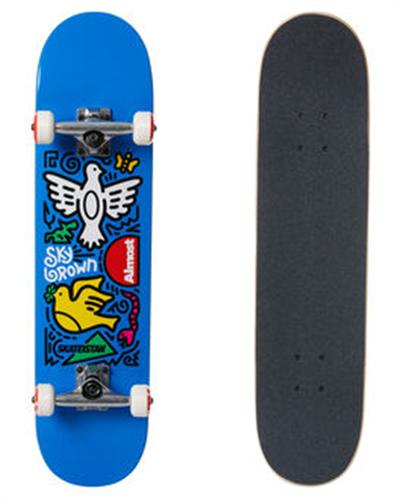 "Almost Sky Brown Skateistan Sky Doodle FP Complete, Blue, Size 7.5"""