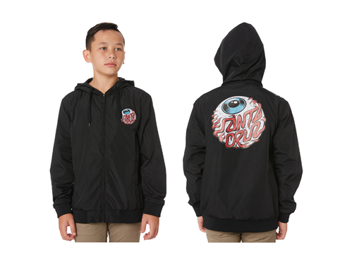 Santa Cruz Eyeball Windbreaker Jacket - Youth, Black