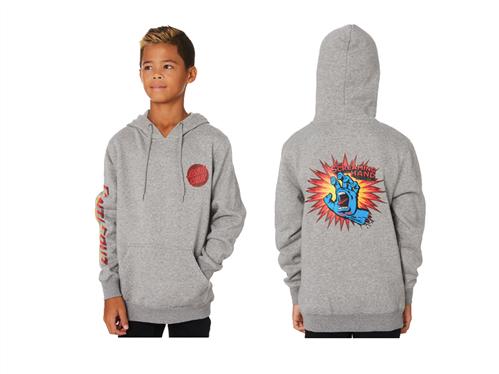 Santa Cruz The Screaming Hand POP Pull Over Hood - Youth, Grey Heather