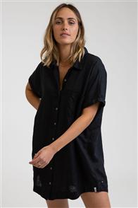 Rhythm SHIRT DRESS, BLACK
