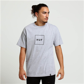 HUF Essentials Box Logo Short Sleeve Tee, Grey Heather