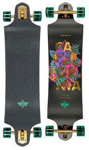 "Dusters Golden State 38"" Skate Longboard, Black/Green"
