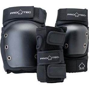 Pro-Tec Street Junior 3pk Open Back Saftey Pads, Black