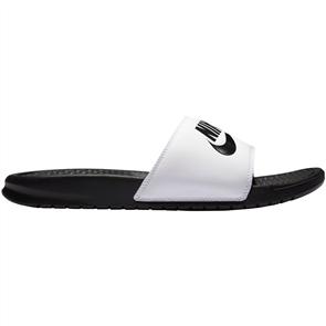 "Nike Benassi ""Just Do It."" Sandal, White Black"