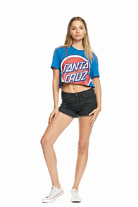 Santa Cruz Retro Dot Cut Off Tee, Cobalt