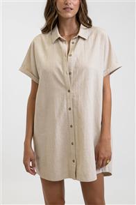 Rhythm CLASSIC LINEN SHIRT DRESS, SAND