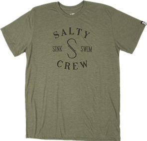 Salty Crew S-Hook Tri Blend Short Sleeve Tee, Army Heather