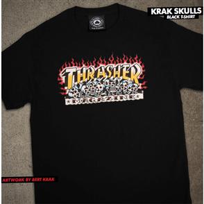 Thrasher Krak Skulls S/S Tee, Black