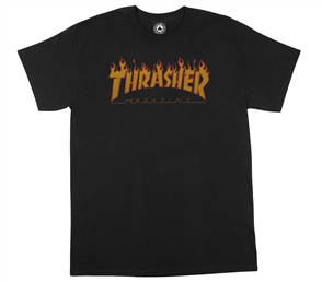 Thrasher Flame Halftone T Shirt, Black