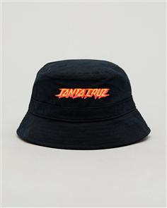 Santa Cruz Flaming Strip Bucket Hat, Black