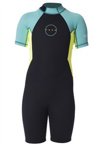 1.5mm Girls Energy Short Sleeve Spring Suit, Turquoise