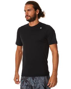 Hurley Icon Surf Short Sleeve Rash Vest, Black