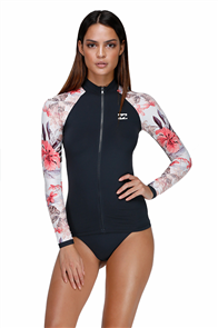 Billabong Lost Lily Long Sleeve Rashguard, Black Sands