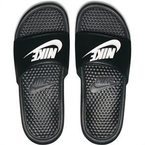 "Nike Benassi ""Just Do It."" Sandal, Black White"