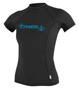 Oneill Womens Basic Skins Short Sleeve Crew, Black 002