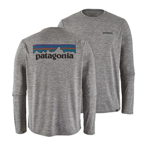 Patagonia L/S Cap Cool Daily Graphic Shirt, P-6 Logo Feather Grey