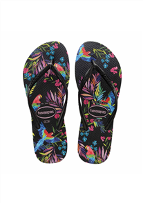 Havaianas SLIM TROPICAL FLORAL JANDALS, Blk New