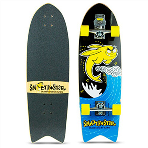 "SmoothStar Flying Fish 32"" Surf Skateboard, Yellow & Black"