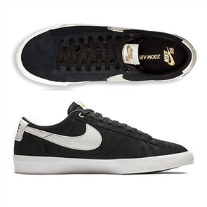 Nike SB Blazer Low Gt Shoes, Black/Sail