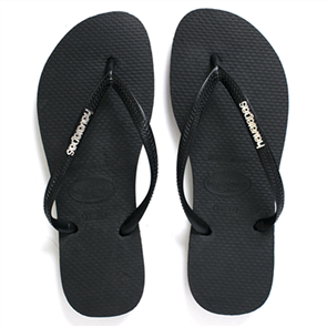 Havaianas Women's Slim Logo Metallic Black/Silver