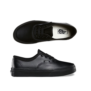 Vans Authentic Leather Youth Shoe, Black