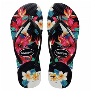 Havaianas Slim Tropical Floral Jandal, Black