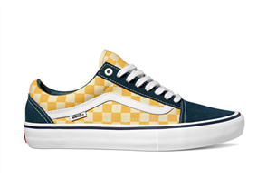 Vans Old Skool Pro Skate Shoe, (Checker)Blue Ochre