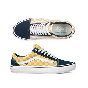 Vans Old Skool Pro Skate Shoe, (Checker)Blue Ochre