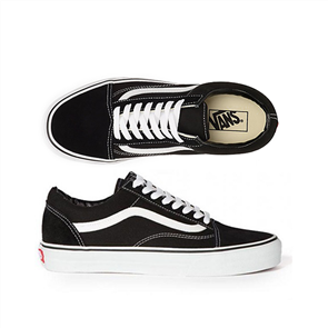 Vans Classics Plus Old Skool Youth Shoe, Black True White