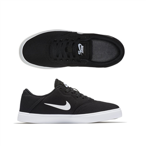 Nike SB Yuth Check Canvas (GS) Skateboarding Shoe, Black White