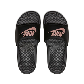 "Nike Women'S Benassi ""Just Do It."" Sandal, 007, Blk Rose Gold"