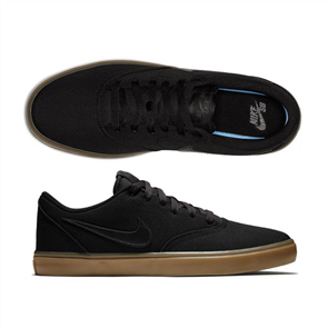 Nike Men'S Sb Check Solarsoft Canvas Skateboarding Shoe, 009, Blk-Gum Lt Brn