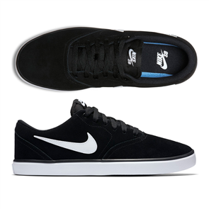 Nike SB Check Solarsoft Skateboarding Shoe, Black/ White