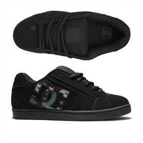DC NET MENS SHOES, BLACK/CAMO PRINT