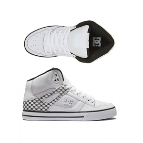 DC PURE HIGH-TOP WC MENS SHOES, WHITE/BLACK MONOGRAM