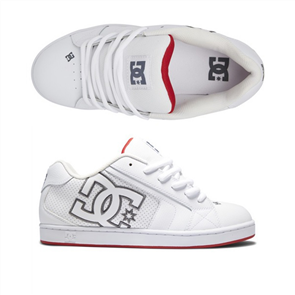 DC NET MENS SHOES, WHITE/RED