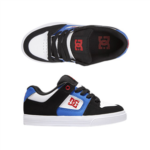 DC PURE YOUTH SHOES, WHITE/BLACK/ROYAL