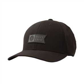 Salty Crew Alpha Tech 6 Panel Hat, Black