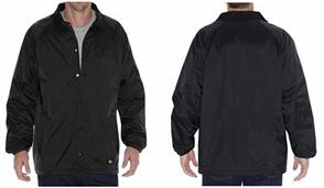 Dickies 76242 Coaches Snap Front Nylon Jacket, Black