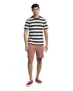 Hurley Custom Striped Top T-Shirt, Oil Grey