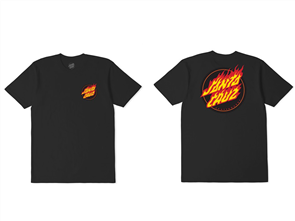 Santa Cruz Flame Dot Tee, Black
