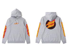 Santa Cruz Flaming Dot Pop Hood, Grey Heather