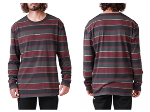 RPM Stripe Long Sleeve Forrest Maroon Tee , Navy Stripe