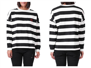 RPM Womens Box Long Sleeve Tee, Black Cream Stripe