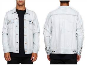 RVCA Distressed Denim Jacket, Bleachout
