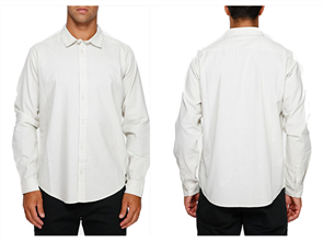 RVCA Crushed Long Sleeve Shirt, Silver Bleach