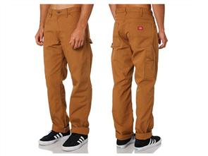 Dickies RELAXED FIT STRAIGHT LEG CARPENTER DUCK JEANS, RINSED DUCK BROWN