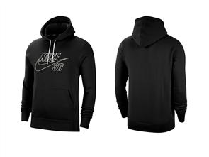 Nike SB Men's Pullover Skate Hoodie, BLACK/SUMMIT WHITE